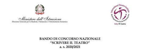 """Bando di Concorso nazionale """"Scrivere il Teatro"""" / Giornata mondiale del Teatro 2021"""