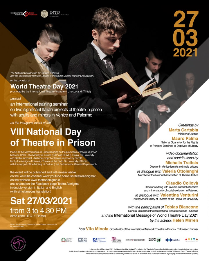 Locandina Evento inaugurale della VIII Giornata Nazionale del Teatro in Carcere 2021